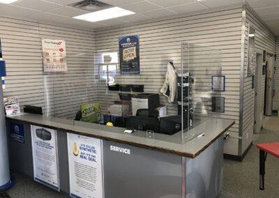 Reception desk sneeze shield custom install