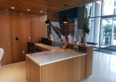 Clear custom protective barrier for business office front desk reception