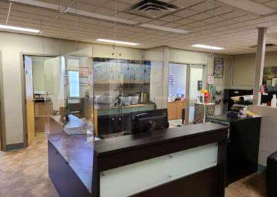 sneeze shield for school reception desks in administration office